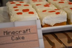 Sunny by Design: Minecraft inspired Birthday party To take to school: (square vanilla cupcake with white icing and red fondant square decoration) Minecraft Food, Minecraft Birthday Cake, Easy Minecraft Cake, Minecraft Crafts, Minecraft Party, Minecraft Skins, Minecraft Houses, Creeper Minecraft, Minecraft Ideas