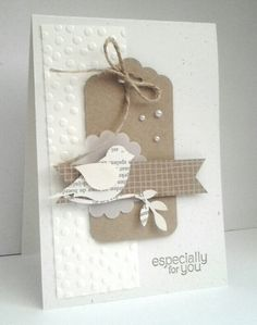 Love this card - Crumbcake on white - SU Bird Builder Punch, Scalloped tag topper punch, Decorative Dots embossing folder, scallop circle punched vellum.