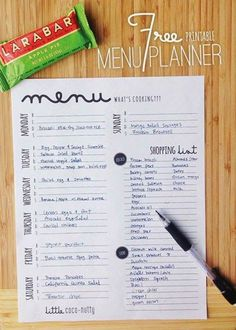 Menu Planning for me is the hardest, but most important part of clean eating. It gives you a plan, you use your food more wisely and there is no staring in the fridge for 5 minutes trying to think … Free Printable Meal Planner, Menu Planning Printable, Weekly Budget Printable, Food Journal Printable, Printable Shopping List, Free Printables, Shopping Lists, Healthy Meal Planning, College Meal Planning