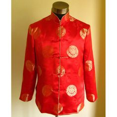 Mens Red Silk Retro Vintage Chinese Wedding Tang Dress Suit Jackets SKU-123254