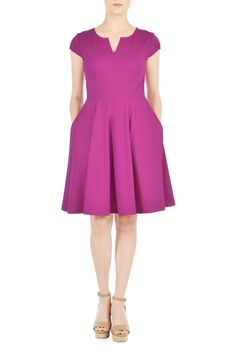 A split neck accentuates the top of our sassy fit-and-flare dress fashioned with flattering set-in cap sleeves and a waist-slimming cut.