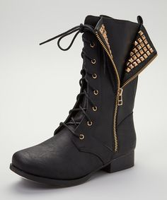 Black Jetta Combat Boot | zulily...Cool studs at a great price!! combat boots my favorite shoes!!