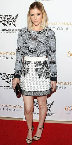 Last Night's Look: Love It or Leave It? | KATE MARA | The actress gets graphic in a black-and-white top and flared skirt from Balenciaga at the Humane Society gala in L.A., styling her separates with a black bag and sandals and a half-up do.