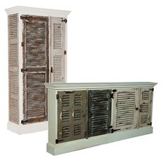 Sand and Sea Shutter Door Cabinet and Credenza Cottage Shutters, White Shutters, Wood Shutters, Painted Furniture, Furniture Sets, Shabby Chic Cabinet, Farmhouse Cabinets, Shutter Doors, Coastal Cottage