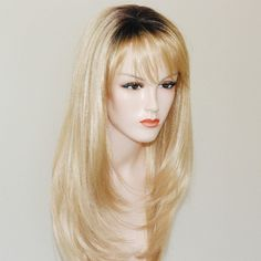 long layered blonde wig/ dark brown root by Stars4Ucollection ($70) via Polyvore