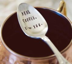 """How much do your love your coffee? This listing is for ONE (1) """"dear coffee I love you"""" spoon. © 2015 jessicaNdesigns Add a cute coffee mug and a bag of their favorite coffee for the perfect gift! Ple"""