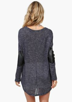 Darling Grey Tunic with Black Leather Elbow Patches. So Awesome.