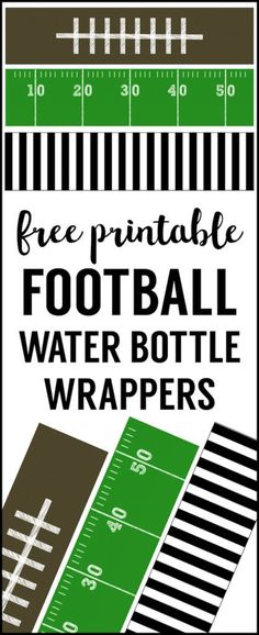 Football water bottle labels free printable. Cheap football party decorations for a superbowl party, football team party, football birthday party, or football themed baby shower. (Water Bottle Decoration)