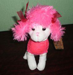 SOFT SENSATIONS Pink & White PLUSH SOFT TOY POODLE DOG
