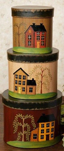 Primitive Country SALTBOX HOUSE WILLOW TREE Folk Art Nesting Stacking Boxes