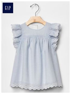 Shop for Eyelet flutter dress by Gap at ShopStyle. Now for Sold Out. Little Girl Fashion, Toddler Fashion, Kids Fashion, Outfits Niños, Kids Outfits, Little Girl Dresses, Girls Dresses, Baby Dresses, Moda Kids