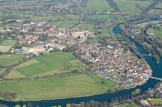 An aerial view of Eton, and Eton College top centre, Windsor and Maidenhead, Berkshire, UK. Stock Photo - 13117964