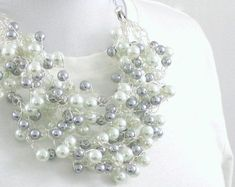 wire crochet pearl necklace