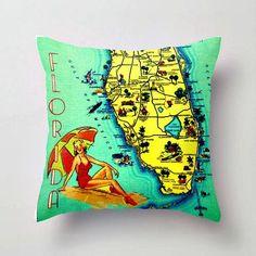 Florida Map Pillow   Free Shipping   Florida Beach House   Decorative Throw Pillow Cover   Retro Florida