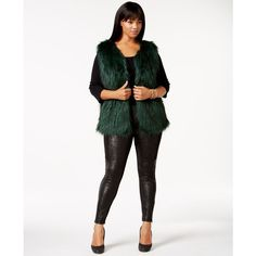 8adf5dcf1d2a6 Jessica Simpson Plus Size Faux-Fur Vest ( 100) ❤ liked on Polyvore featuring