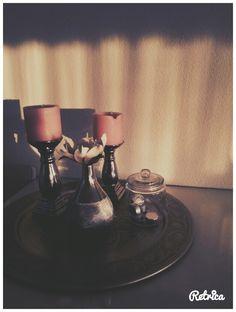 Schaal met kaarsen