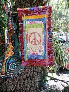Hippie Prayer Flag for Peace, Gypsy garden flag, batik flag ...