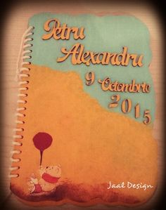 Custom made  diary for a baby boy, wooden covers,  painted in acrilic colours and decorated with  decoupage tehnique.