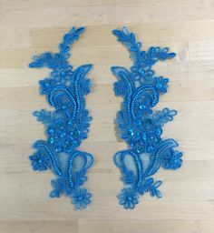 Turquoise Beaded Appliques Beaded Applique Beaded Lace Pair