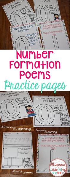 Check out these ADORABLE number poems! They even have practice pages!!