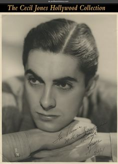"""Tyrone Power - Signed oversize photograph. (1937) Vintage original gelatin silver double-weight semi-gloss 11 x 14 in. photograph inscribed and signed to radio actress and Power's childhood friend Virginia Payne in black ink in right of image, """"For Virginia with sincere affection, always, Tyrone, 2/28/37/""""."""