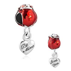 Valentines day gift charm/Red Rose dangle charm/Be mine charm/ Love charm/ fits all brand charm bracelets/Mother & Daughter bracelet by MythingsUrthings on Etsy https://www.etsy.com/listing/216166333/valentines-day-gift-charmred-rose-dangle