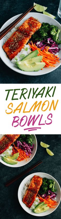 These Teriyaki Salmon Bowls come together quickly for a healthy and delicious weeknight meal. Bake the salmon and broccoli together, then serve in a bowl with rice, veggies and creamy avocado. #20minutemeal #healthydinner #salmon