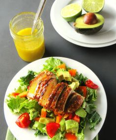 Chicken and Avocado Salad with Honey Lime Dressing Recipe