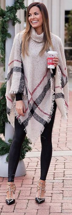 #winter #outfits beige poncho, black leggings, heels