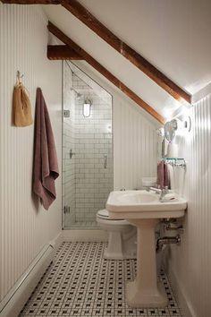 3 Miraculous Useful Ideas: Attic Exterior Lazy Sunday attic conversion door.Attic Insulation Old Houses attic renovation slanted ceiling. Loft Bathroom, Upstairs Bathrooms, Bathroom Small, Bathroom Ideas, Shower Ideas, Bathroom Designs, Master Bathroom, Bathroom Layout, Sloped Ceiling Bathroom