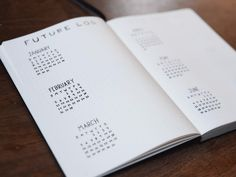 Bullet Journal Future Log by @blackinkjournal  With mini calendars  If you need to see the months at a glance, draw out some mini calendar and rapid-log the events as usual.