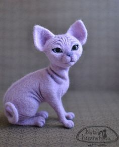"NATALIA KUZNETSOVA - (artwool) -- ""Lilac cat out of the country of pyramids"" -- April 30, 2012 -- 15 cm..  Handmade."