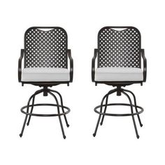 Hampton Bay Fall River Motion Patio High Dining Chair with Bare Cushion (2-Pack)-DY11034-BS-B - The Home Depot