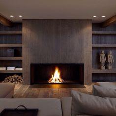Fireplace idea - flush to the ground, spotlights