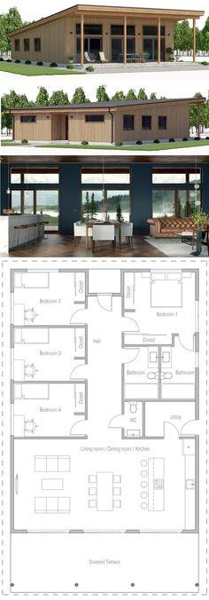 Architecture House Plan, Home Plans, Planta de Casa, Casa, Best House Plans, Modern House Plans, Small House Plans, Modern House Design, Simple Home Plans, Casas Containers, Sims House, Concept Home, Home Design Plans