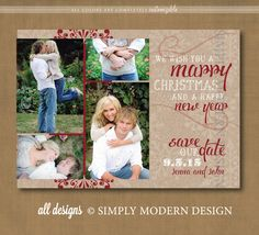 save the date christmas card marry little christmas collage printable