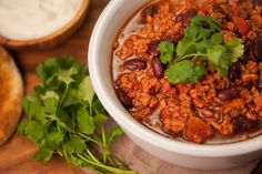 Chili con carne de chorizo Chorizo, Chana Masala, Salsa, Menu, Yummy Food, Fruit, Health, Ethnic Recipes, Chilis