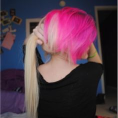 Blonde and pink hair