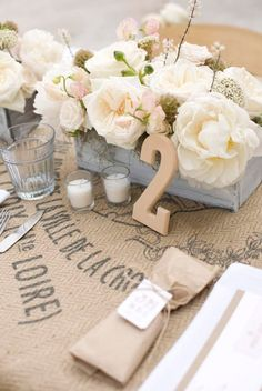 Cute wedding table setting love this the wooden table numbers painted in your colors