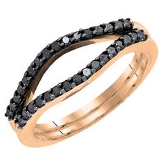 Share for $20 off your purchase of $100 or more! 0.35 Carat (ctw) 14K Rose Gold Round Black Diamond Ladies Anniversary Enhancer Guard Double Ring Wedding Band 1/3 CT - Dazzling Rock #https://www.pinterest.com/dazzlingrock/