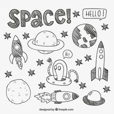 30 Super ideas for design illustration drawing doodles Doodle Art, Doodle Drawings, Easy Drawings, Drawing Sketches, Space Drawings, Drawing Art, Doodle Kids, Doodle Books, Doodle Sketch