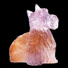 daum crystal | Daum Crystal Amber Purple Highlander Terrier 02680