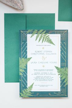 Jurassic art deco forest green and gold wedding invitations