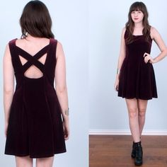 Vintage 1990's Oxblood Velvet Cut Out Skater Dress Cute maroon/oxblood color velvet, skater style dress. Criss-cross back straps. Stretchy pull over style. Made from a polyester/velvet fabric. Would best fit a women's size small to medium. In great vintage condition! Vintage Dresses Mini