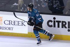 San Jose Sharks defenseman Justin Braun reacts after scoring a second period goal (Oct. 3, 2013).