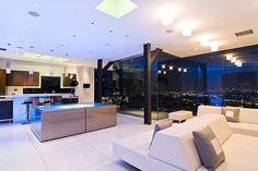 Modern Hollywood bachelor pad with open space living area