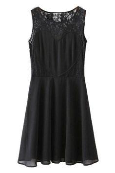 ROMWE | ROMWE Lace Panel Hollow Pleated Sleeveless Black Dress, The Latest Street Fashion