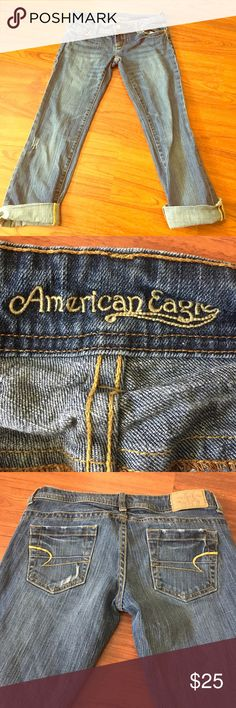 American eagle 🦅 ankle length jeans medium wash Great jeans in amazing condition like new.. roll up or down depending on the day American Eagle Outfitters Jeans Ankle & Cropped