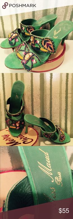 "Custom Miss Maud Paris 100% suede sandals. Custom made from Miss Maud Paris, Emerald green elaborately beaded, multi colored design, 100% suede. 3 1/2"" skinny heel, open toed. Custom made. One-of-a-kind. Exclusive. Never worn. Size 6. Miss Maud Paris Shoes Sandals"