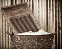 vintage wash day laundry | Vintage, rustic, sepia brown, laundry washboard, wash day, country ...